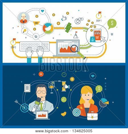 Flat design illustration concepts for business customer care service, mobile marketing, online shopping and financial strategy. Investment business. Press conference and live news.