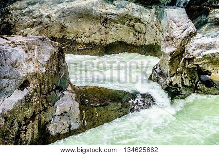 Whirlpoot in Nairn Falls in Nairn Falls Provincial Park between Whistler and Pemberton in British Columbia, Canada