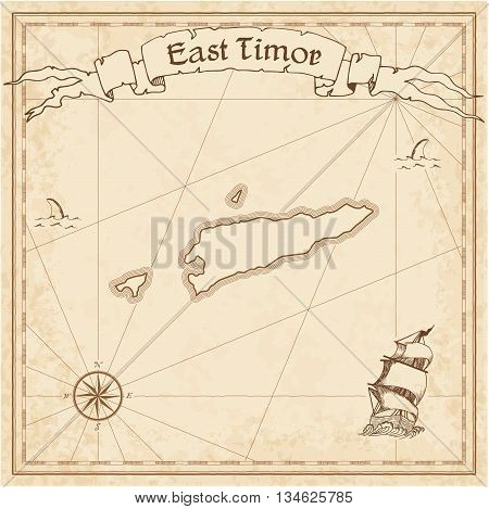 Timor-leste Old Treasure Map. Sepia Engraved Template Of Pirate Map. Stylized Pirate Map On Vintage