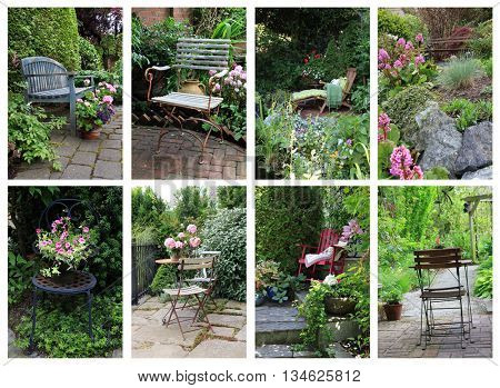 Charming collection of vintage garden chairs and benches.