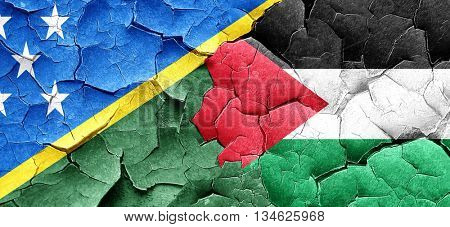 Solomon islands flag with Palestine flag on a grunge cracked wal