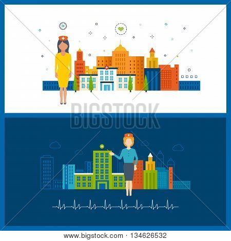 Vector illustration concept for healthcare, medical help and research. Online medical diagnosis and treatment. Medical first aid. Healthcare worker. Hospital building