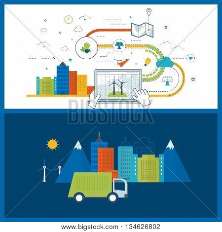 Green eco city and eco-friendly city concept. Modern energy safety. Flat green energy, ecology, eco, clean planet, urban landscape and industrial factory buildings concept. Color line icons