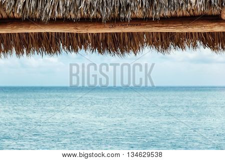 the straw awning on the beautiful beach