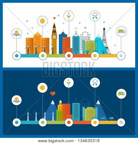 Green eco city and eco life infographic. Modern energy safety. Ecology concept, city eco. Flat green energy, eco, clean planet, urban landscape and industrial factory buildings concept.