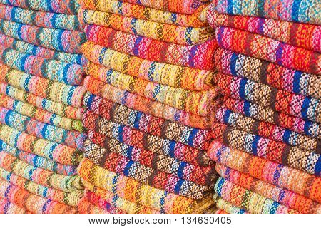 Colorful Brazilian Blanquet piled up in Rio de Janeiro