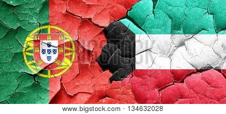 Portugal flag with Kuwait flag on a grunge cracked wall