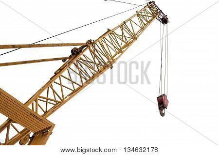 Big yellow construction crane for heavy lifting isolated