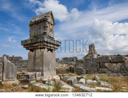 Ancient ruins of theater and odeon in Patara, Turkey