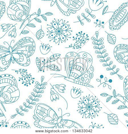 Vector seamless pattern with cute buterfly and beauty flowers and plants