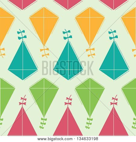 Vector seamless pattern with bright and colorful kites
