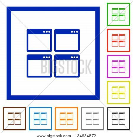 Set of color square framed Mosaic window view mode flat icons