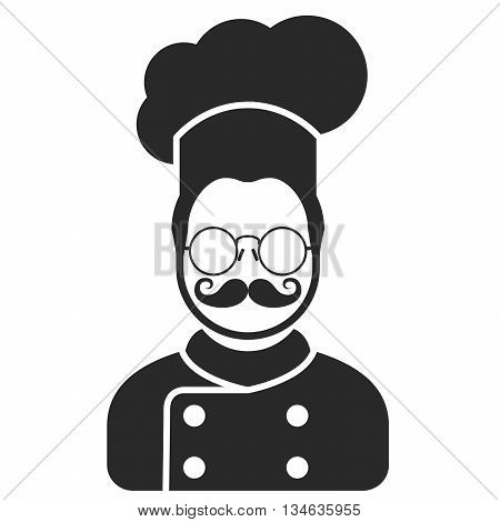 Chef cook icon - man with moustaches beard and in glasses