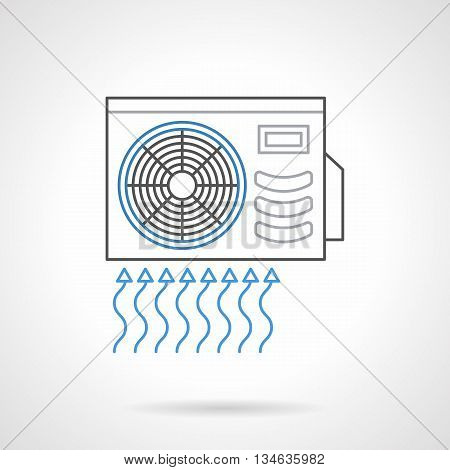 Outdoor unit of air conditioner, split system. Device for wall mount for air intake, cooling and cleaning. Climate technics. Flat line style vector icon.