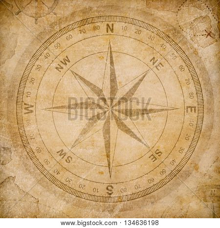 old wind or compass rose on vintage paper