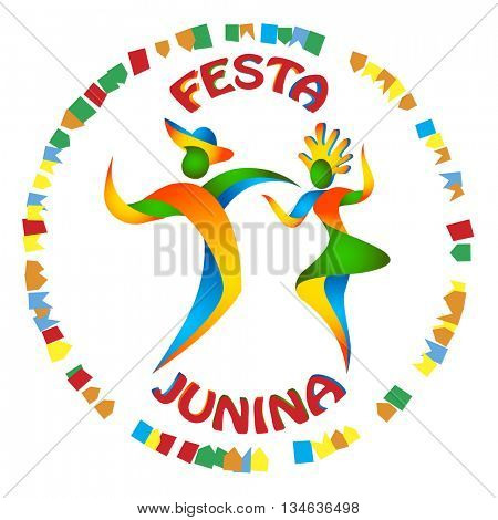 Festa Junina dancers man and woman in color Brazilian flag. Traditional Brazil June festival party. Vector illustration.