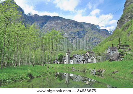 traditional Village of Ritorto with Houses made of Granite Stone in Val Bavona,Ticino Canton,Switzerland