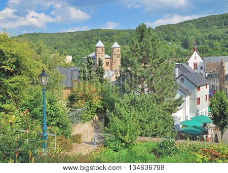 the idyllic medieval Village of Bad Muenstereifel in Eifel region,North Rhine Westphalia,Germany