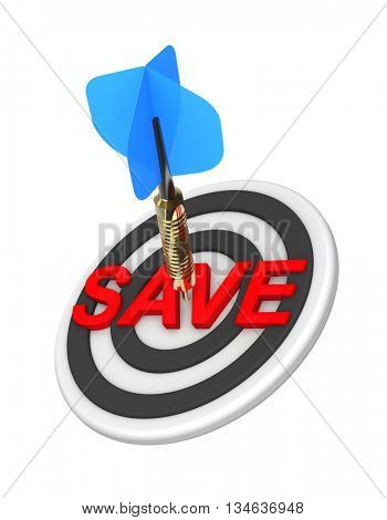 Dart hitting target. The concept of sales and occasion. 3D illustration.