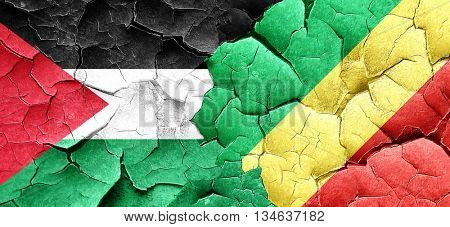 palestine flag with congo flag on a grunge cracked wall