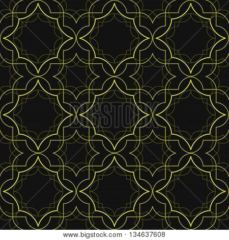 Abstract geometric pattern of concentric linear shapes. Golden lines on black background. Seamless repeat print.