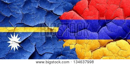 Nauru flag with Armenia flag on a grunge cracked wall