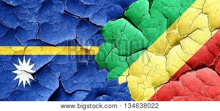 Nauru flag with congo flag on a grunge cracked wall