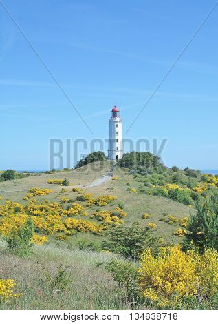 famous Lighthouse at Dornbusch Hill on Hiddensee Island at Baltic Sea,Mecklenburg western Pomerania,Germany