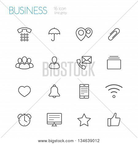 bussines line vector gray icons set of 16