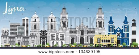 Lima Skyline with Gray Buildings and Blue Sky. Vector Illustration. Business Travel and Tourism Concept with Lima City. Image for Presentation Banner Placard and Web Site.