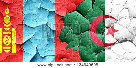 Mongolia flag with Algeria flag on a grunge cracked wall