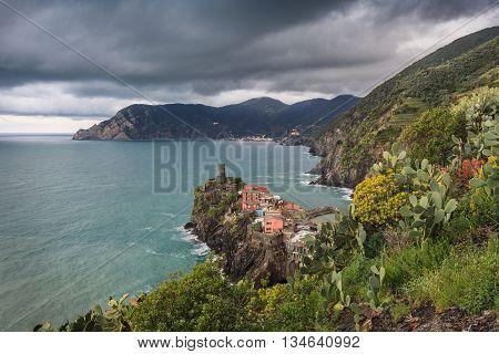 Vernazza fishermen village in Cinque Terre unesco world heritage in Italy