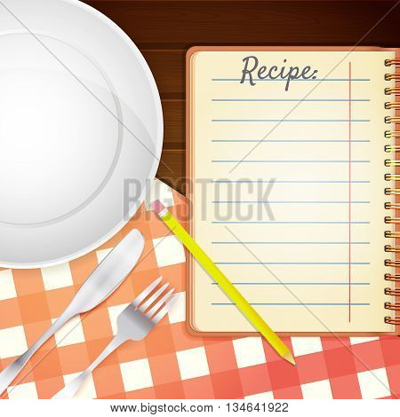 Template for a cookbook. Plate fork and knife. Red checkered tablecloth on wooden table. Cooking Notebook. Vector illustration