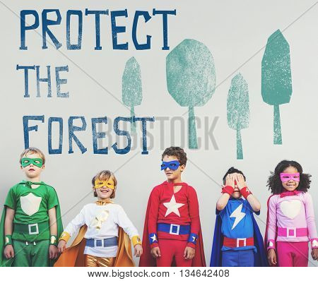 Protect the Forest Ecological Issue Concept