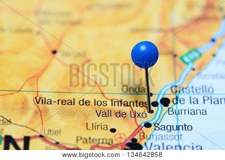 Vall de Uxo pinned on a map of Spain