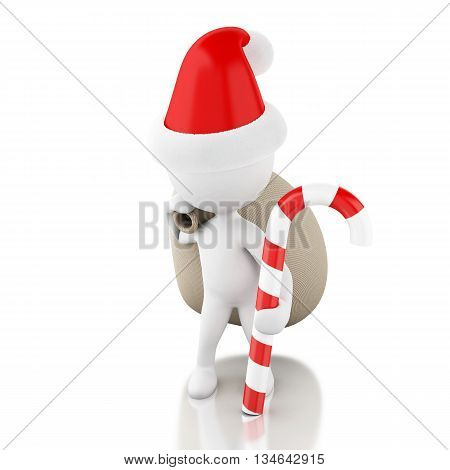 3d renderer image. Santa Claus with bag of gifts and christmas candy. Christmas concept. Isolated white background.
