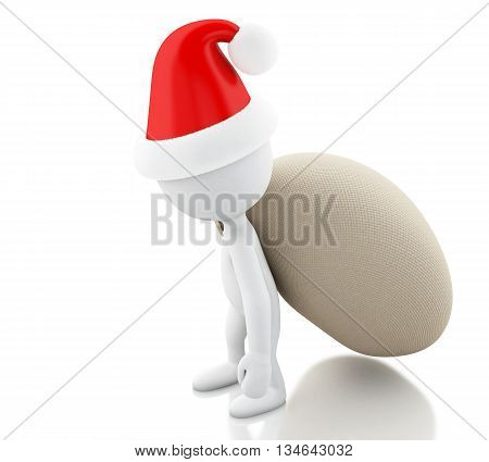 3d renderer image. Santa Claus with bag of gifts. Christmas concept. Isolated white background.