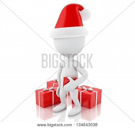 3d renderer image. White people with red gift boxes. Christmas concept. Isolated white background.