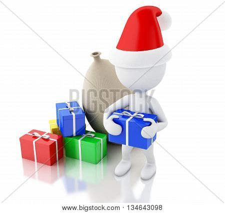 3d renderer image. Santa Claus with bag and gift boxes. Christmas concept. Isolated white background.