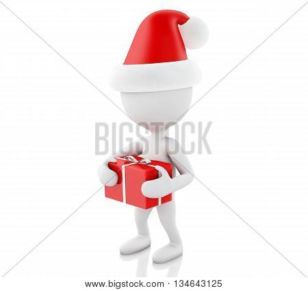 3d renderer image. White people with red gift box. Christmas concept. Isolated white background.