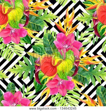 Beautiful pattern with tropical flowers and plants on black and white background with geometric pattern. Composition with palm leaves anthurium and strelitzia.