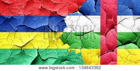 Mauritius flag with Central African Republic flag on a grunge cr