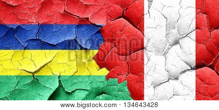 Mauritius flag with Peru flag on a grunge cracked wall