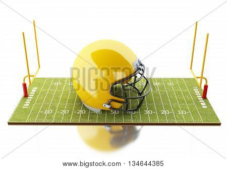 3d renderer image. American Football field with yellow helmet. Sport concept. Isolated white background.