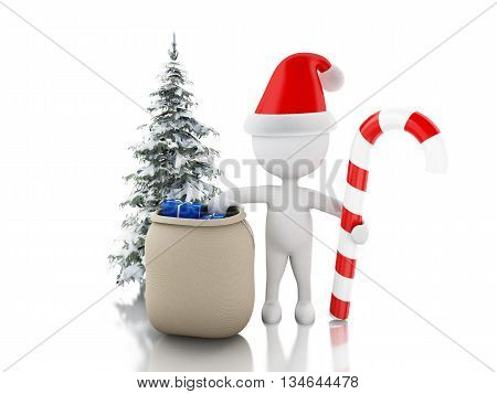 3d renderer image. Santa Claus with bag of gifts christmas candy and tree. Christmas concept. Isolated white background.