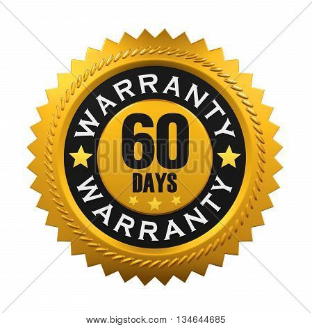 60 Days Warranty Sign isolated on white background. 3D render