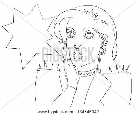 Pop art surprised punk hipster gothic woman face with open mouth. Comic woman with speech bubble. Vector illustration