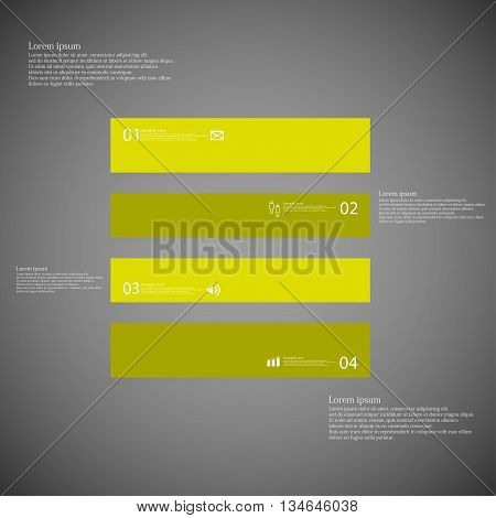 Square Infographic Template Horizontally Divided To Four Green Parts On Dark Background