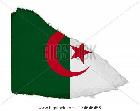 Flag Of Algeria Torn Paper Scrap Isolated On White Background