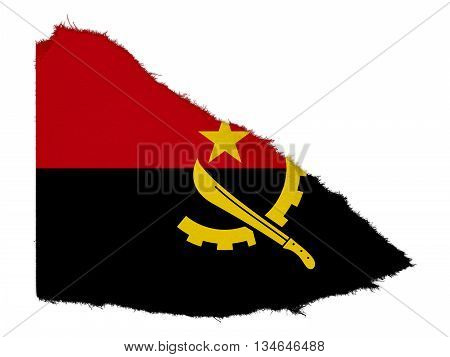Flag Of Angola Torn Paper Scrap Isolated On White Background